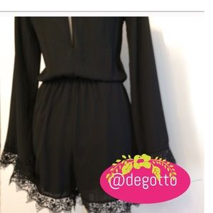 Pants - Black Romper Sexy Lace Lined NWOT